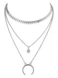 Rhinestone Crescent Moon Layer Fishbone Chain Necklace -