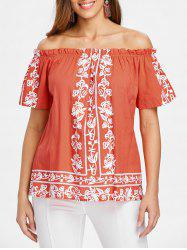 Off The Shoulder Ruffle Hemline Printed Blouse -