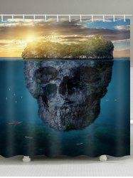 Skull Island Print Waterproof Bathroom Curtain -