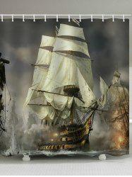 Ship Battle Print Waterproof Bathroom Shower Curtain -