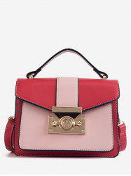 Flapped Contrasting Color Envelope Metallic Handbag -