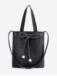 Canvas Bowknot Letter Print Beaded Shoulder Bag -