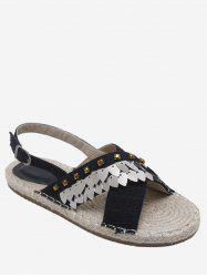 Espadrille Studded Sequined Crisscross Slingback Sandals -