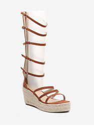 Multi Straps Casual Wedge Espadrille Sandals -