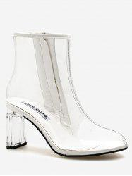 Block Heel Chic Transparent PVC Ankle Boots -
