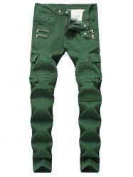 Patchwork Zippers Decorated Pleated Biker Jeans -