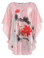 Satin Batwing Sleeve Ink Painting Nightdress -