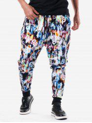 Allover Flower Print Elastic Waist Pants -