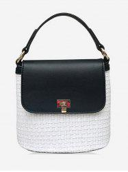 Color Block Flap Casual Holiday Straw Handbag -
