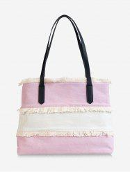 Large Capacity Frayed Edge Color Block Shoulder Bag -