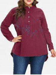 Plus Size Embroidered High Low Blouse -