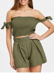 Tie Shirred Top and Elastic Waist Shorts -