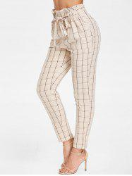 Belted Elastic Waist Plaid Pants -
