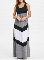 Color Block Scoop Neck Floor Length Dress -