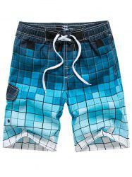 Drawstring Allover Square Print Bermuda Shorts -
