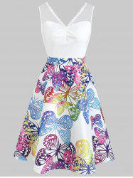 Butterflies Print Ruched Bust Vintage Dress -