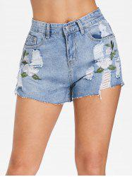 Embroidered Ripped Denim Shorts -