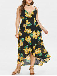 Plus Size Print Surplice Flowy Dress -