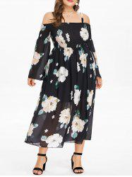Plus Size Floral Strappy Shirred Dress -