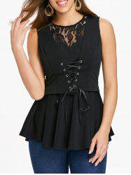 Lace Up Lace Panel A Line Top -
