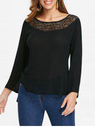Lace Panel Bell Sleeve T-shirt -