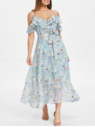 Floral Ruffle Tie taille épaule froide Midi Dress -