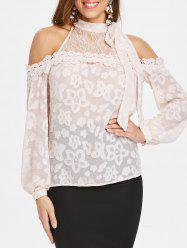 Cold Shoulder Lace Insert Long Sleeve Blouse -