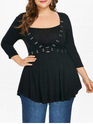 Plus Size Empire Waist Square Neck T-shirt -