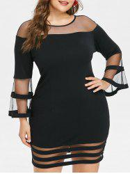 Plus Size Mesh Insert Bodycon Dress -
