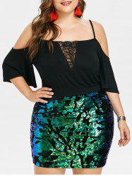 Rosegal Plus Size Flare Sleeve Sparkly Mini Dress -