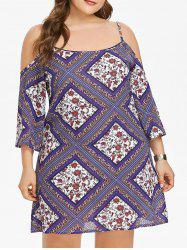 Open Shoulder Plus Size Ethnic Print Shift Dress -
