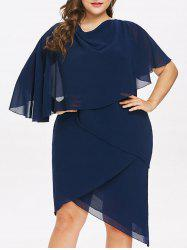 Plus Size Asymmetric Layered Overlap Dress -