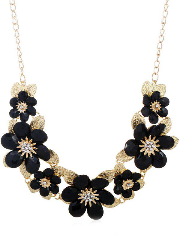 Outfits Rhinestone Flowers Design Pendant Chain Necklace