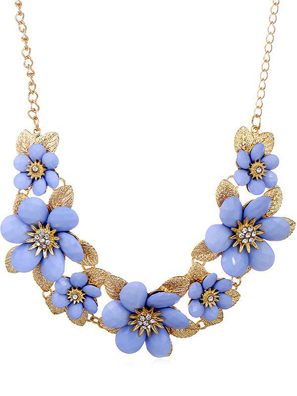 Shops Rhinestone Flowers Design Pendant Chain Necklace