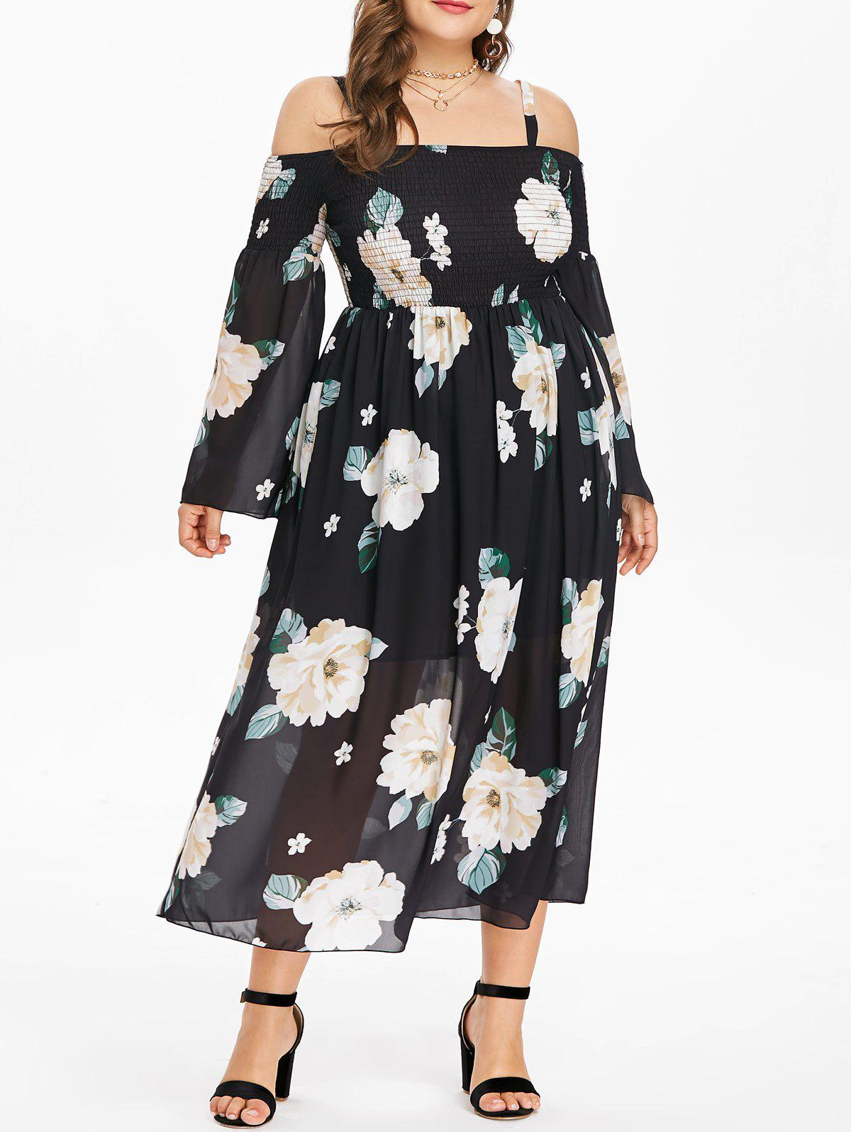 Best Plus Size Floral Strappy Shirred Dress