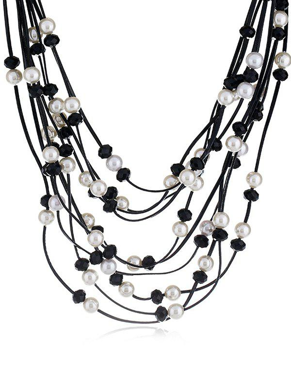Store Artificial Pearls Rhinestone Decoration Multilayer Necklace