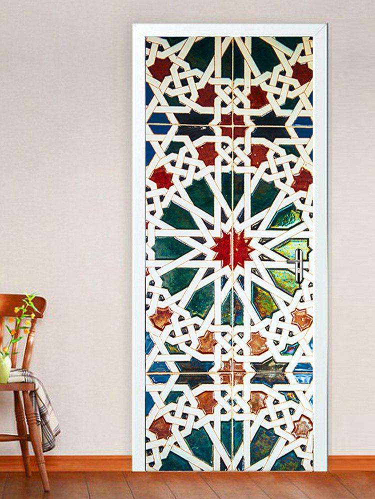 Shops Colorful Geometric Pattern Door Cover Stickers