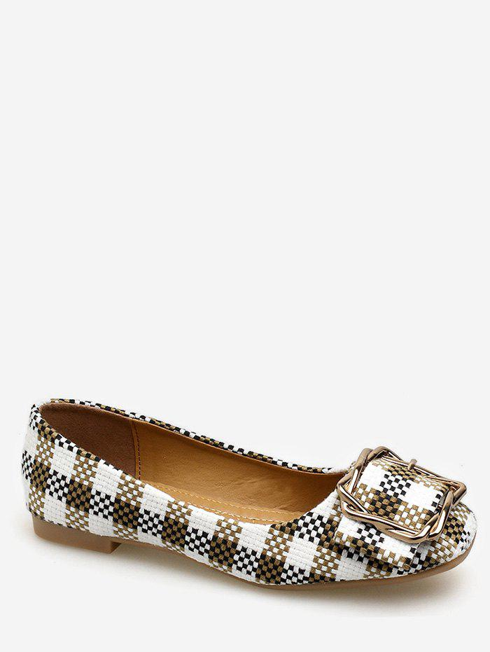 Cheap Square Toe Metal Buckled Plaid Leisure Flats