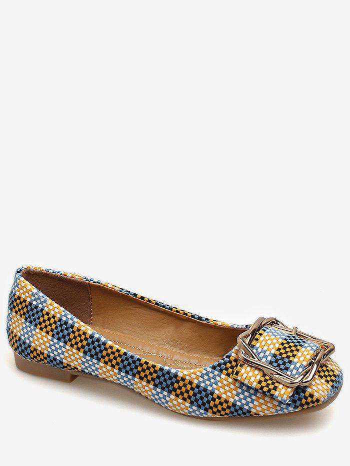 Store Square Toe Metal Buckled Plaid Leisure Flats