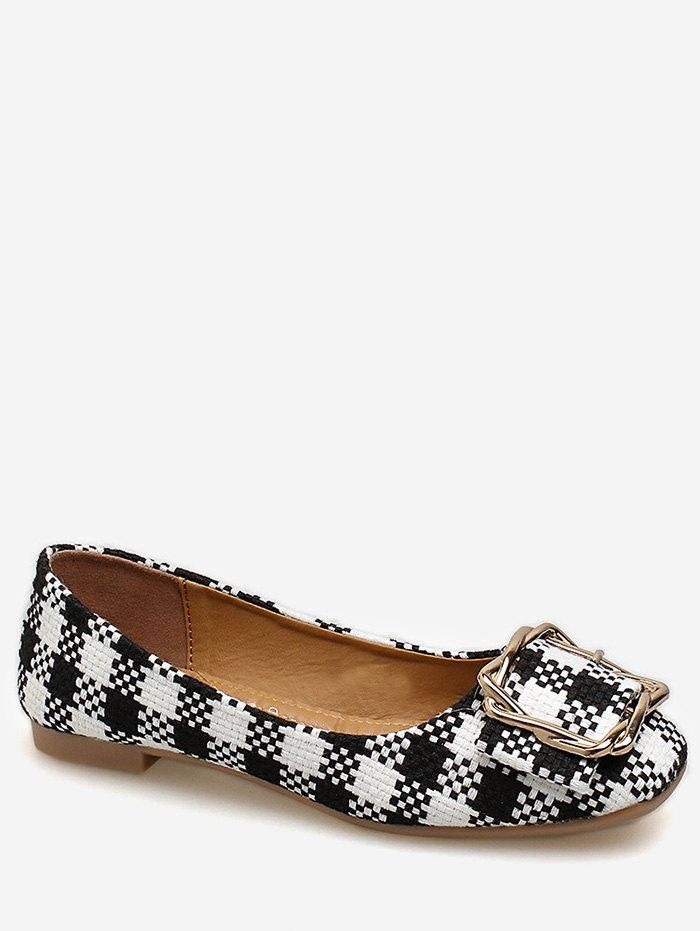 Latest Square Toe Metal Buckled Plaid Leisure Flats