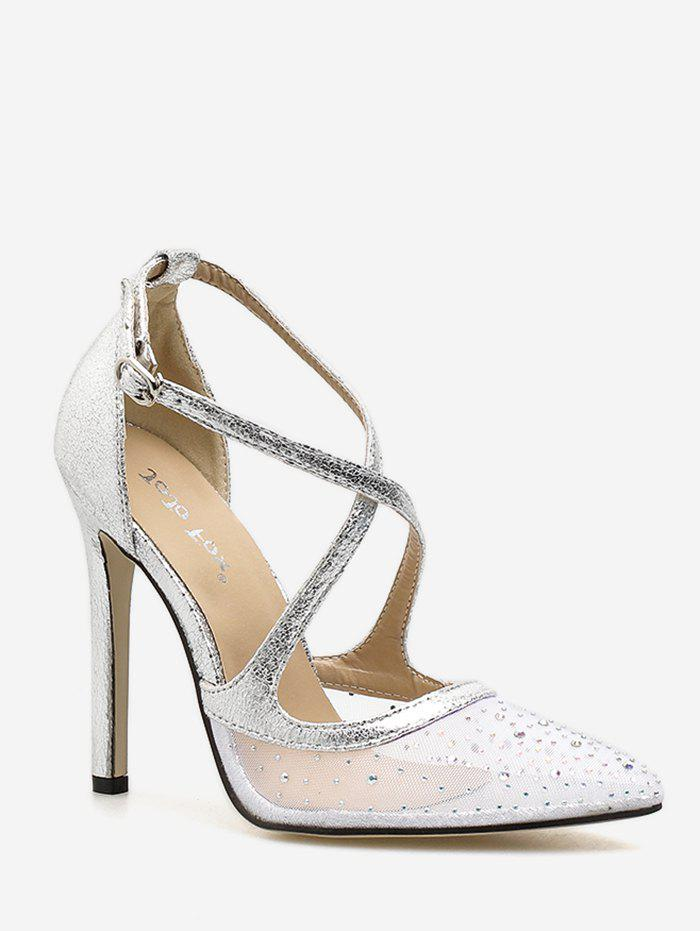Fashion Stiletto Heel Prom Crystals Crisscross Dreamy Pumps