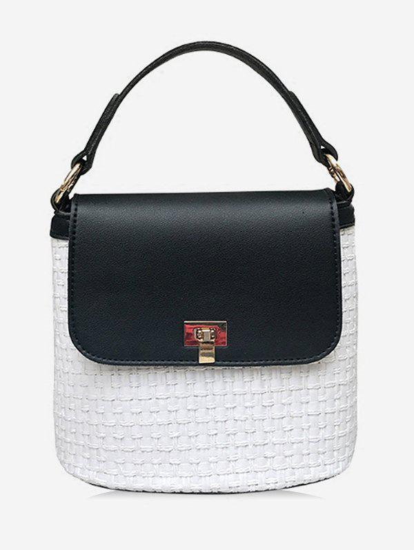 Unique Color Block Flap Casual Holiday Straw Handbag