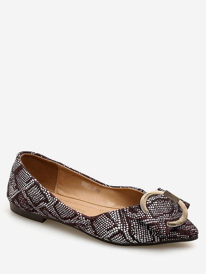 Hot Daily Patchwork Print Metal Buckled Flats