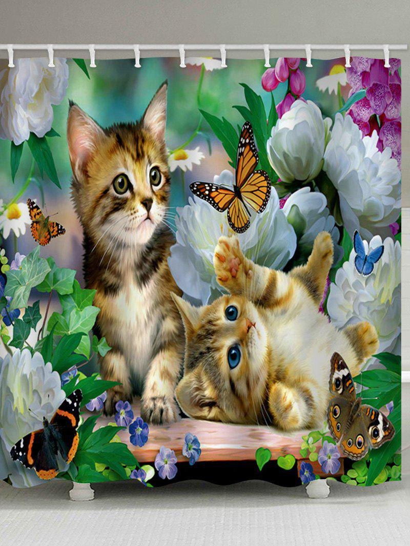 Affordable Little Cat Playing Butterflies Print Shower Curtain