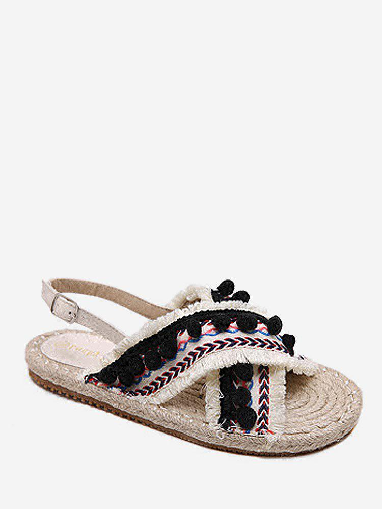 Sale Frayed Edge Cross Strap Pompoms Leisure Sandals