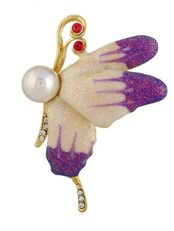 Broche Epingle Papillon Volant en Fausse Perle
