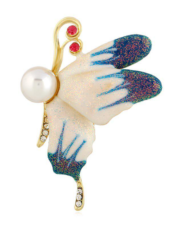 Fashion Flying Butterfly Faux Pearl Pin Brooch