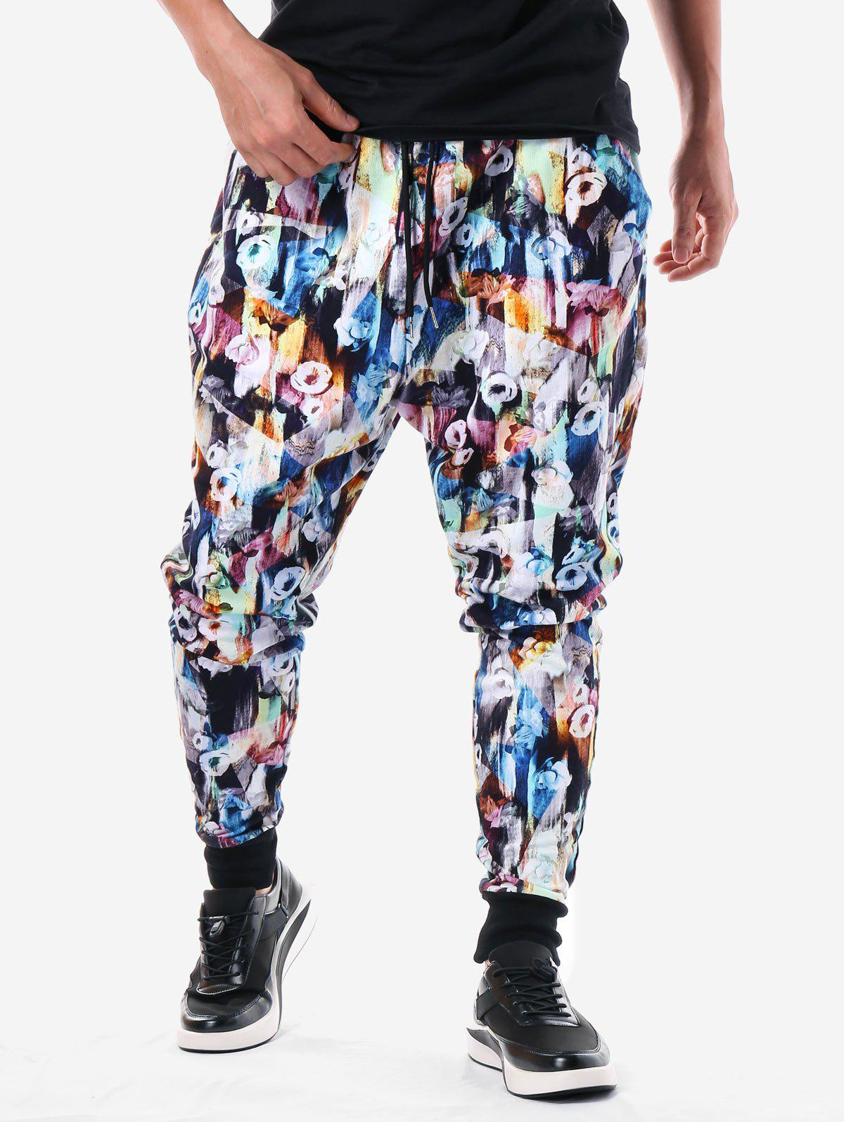 Chic Allover Flower Print Elastic Waist Pants