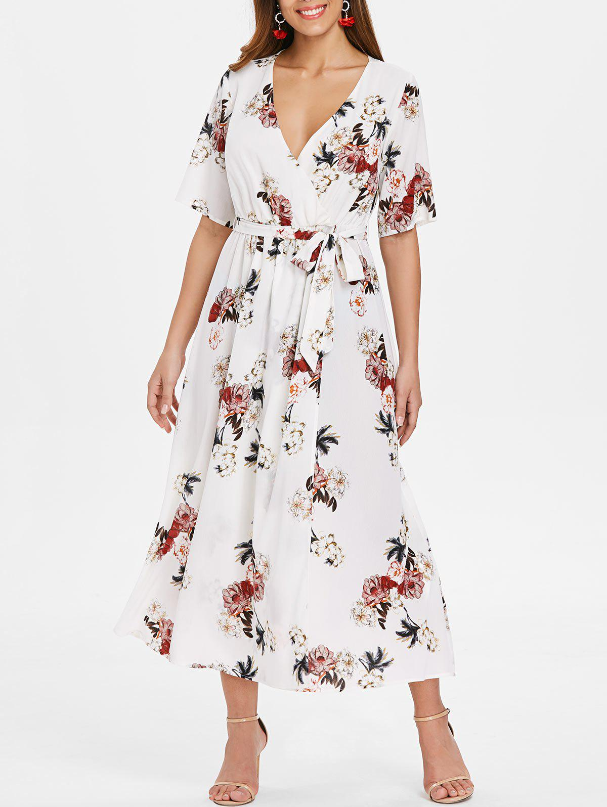 Affordable Floral Print Maxi Wrap Dress