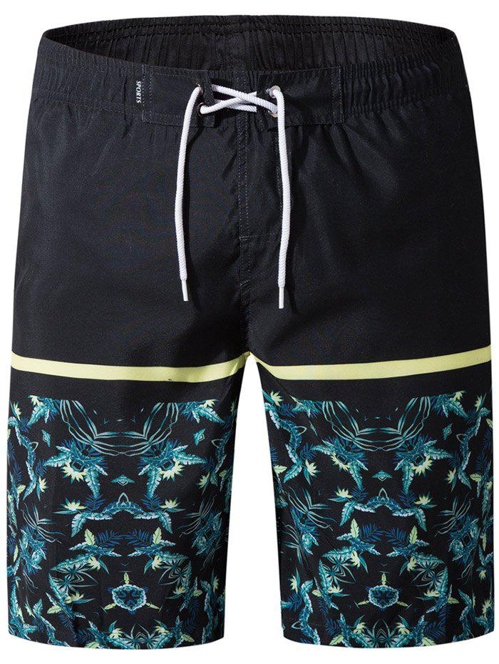 Online Drawstring Panel Leaves Print Board Shorts